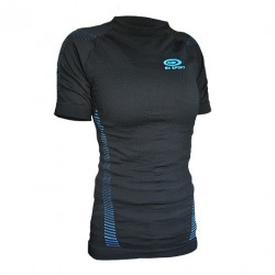 Women short sleeves technical top Black/Blue