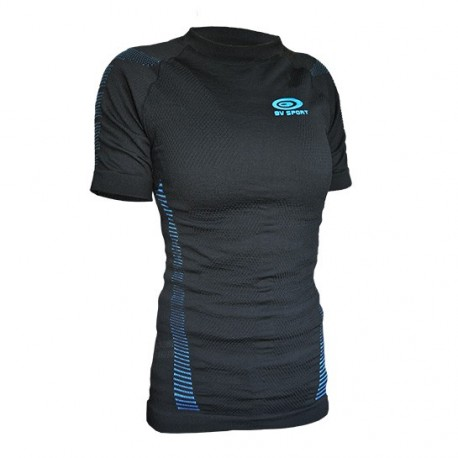 Women short sleeves technical top Black/Blue