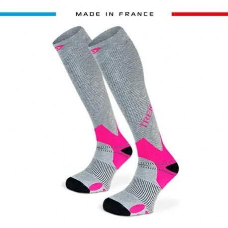 Compression Sock TREK Grey/Fuchsia