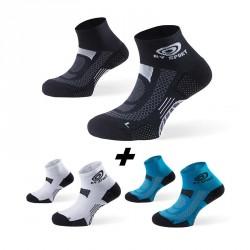 Pack x3 | Socquettes SCR ONE noir-blanc-bleu