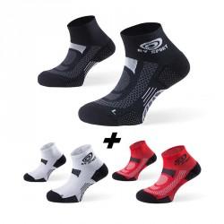 Pack x3 | Ankle socks SCR ONE black-white-red