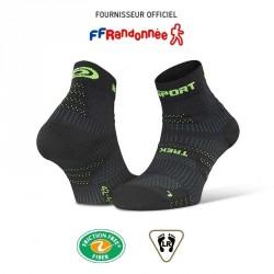 Socquettes_randonnée_TREK_EVO_noir-vert