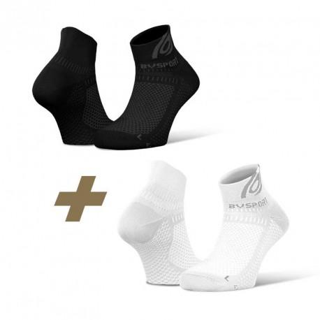 Pack x2 Socquettes Light 3D noir/blanc