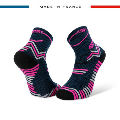 TRAIL ULTRA blue-pink socks   Made in France