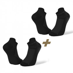 Pack de 2 socquettes running ultra-courtes Light 3D noir/noir
