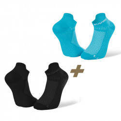 Pack de 2 socquettes running ultra-courtes Light 3D noir/bleu