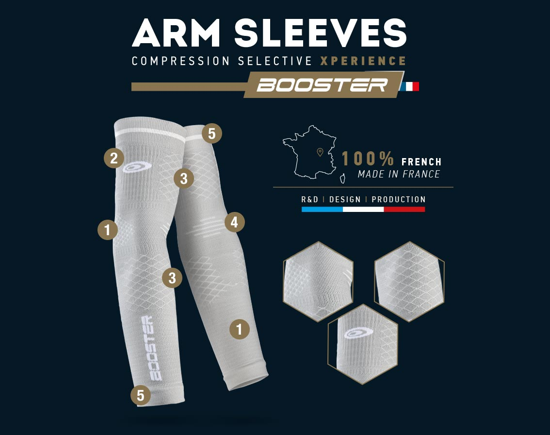 Grey booster arm sleeves - Made in France