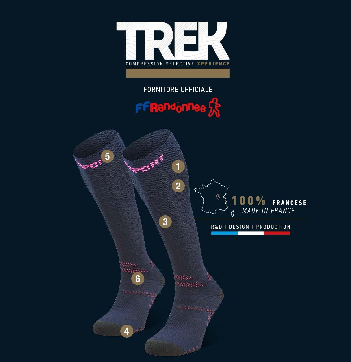 Calza_da_trekking_Trek_compression_EVO_blu-rosa