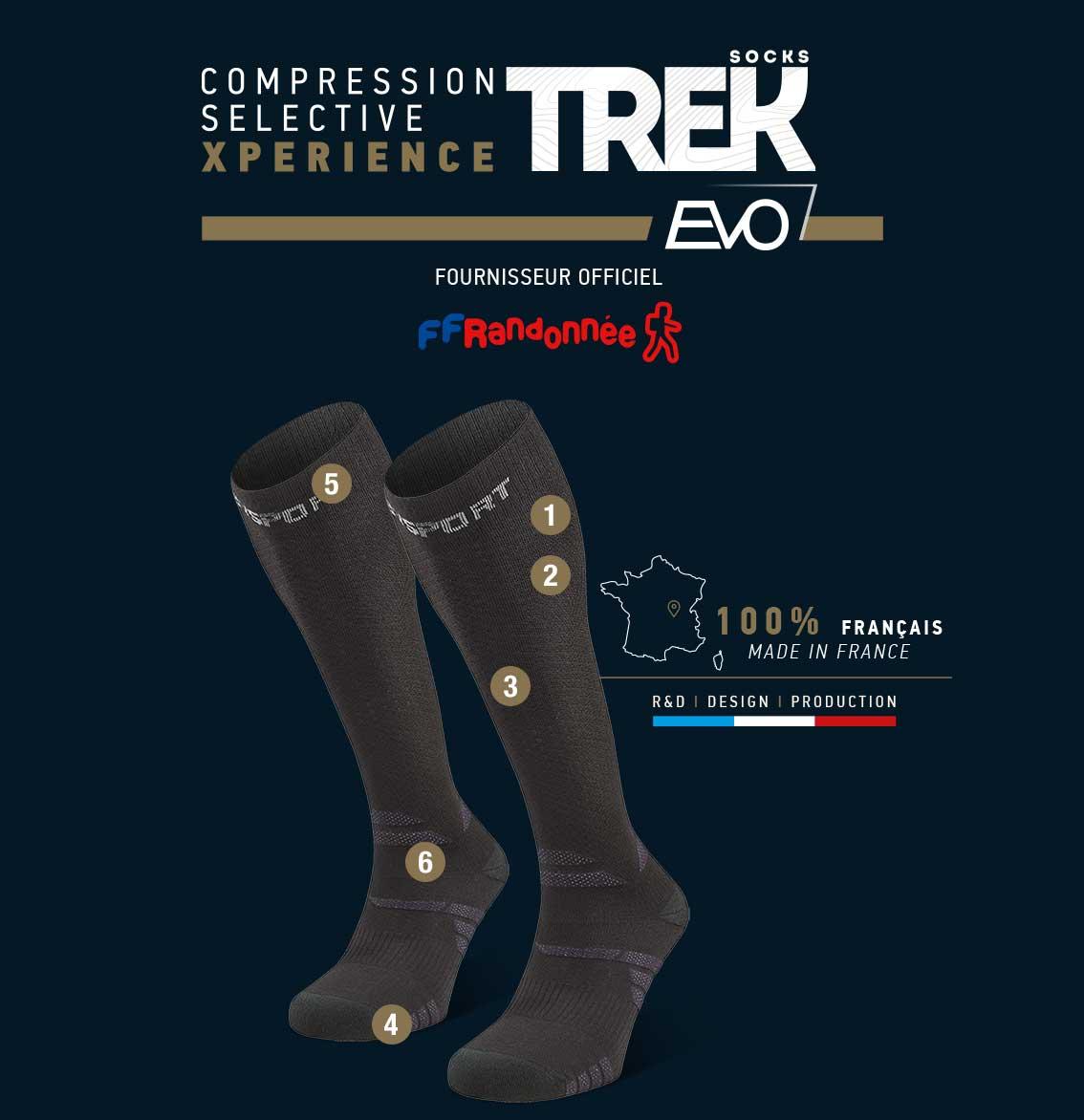 Chaussettes_randonnée_Trek_compression_EVO_noir-gris