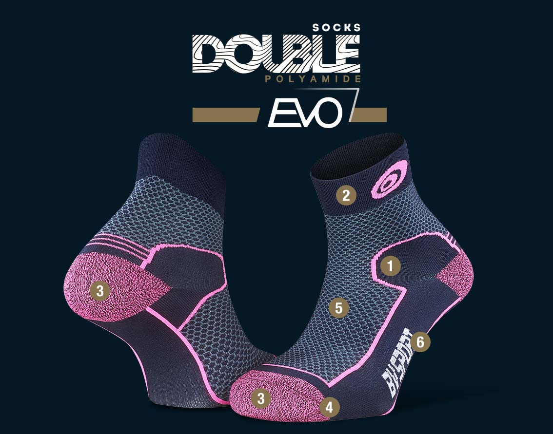 Hiking_ankle_socks_Double_polyamide_EVO_low-cut_blue-pink
