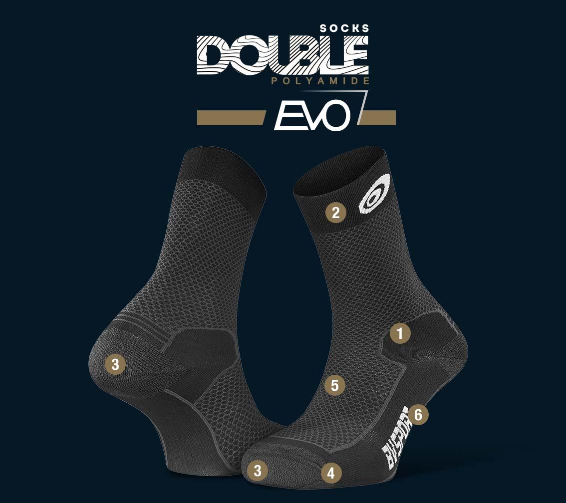 Chaussettes randonnée Double EVO polyamide noir