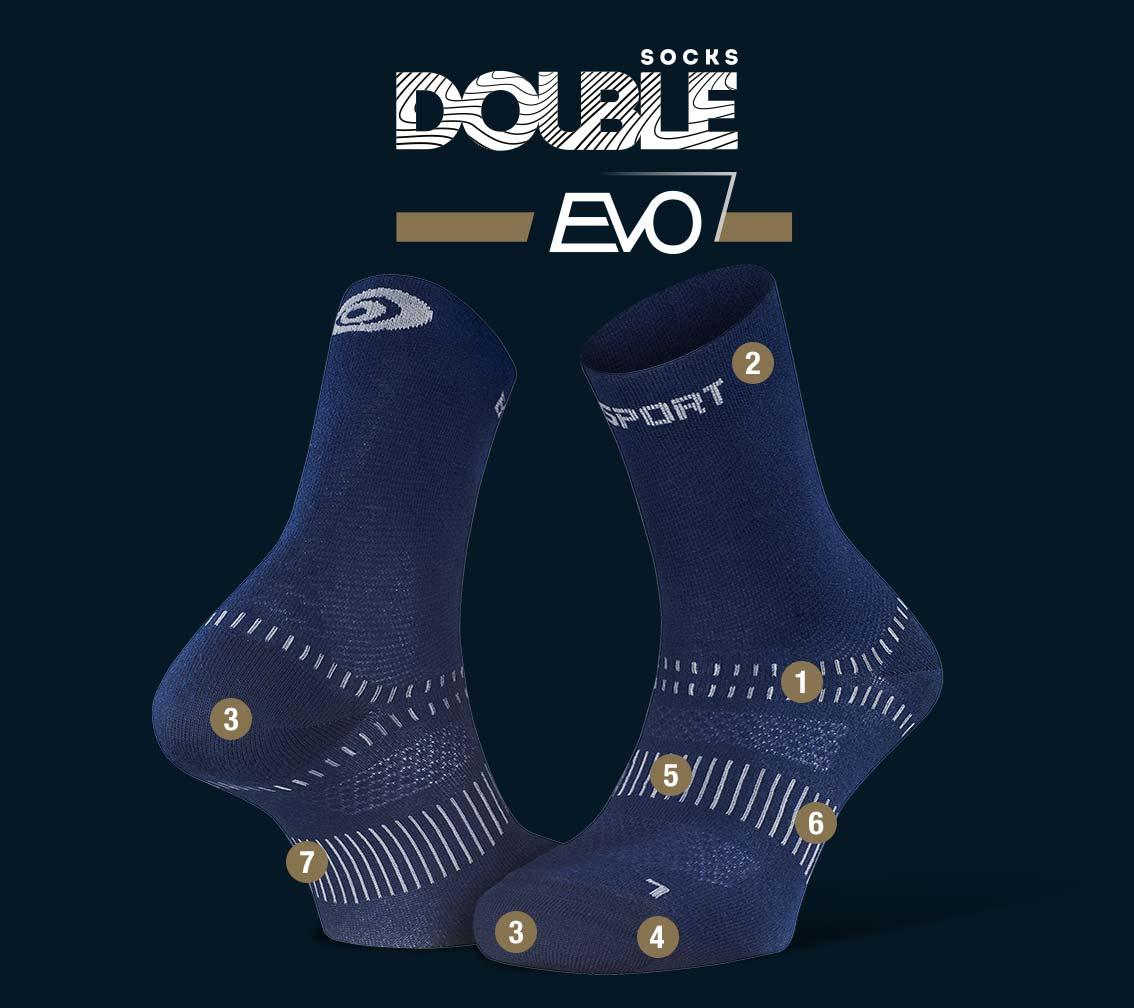 Chaussettes randonnée Double EVO bleu marine