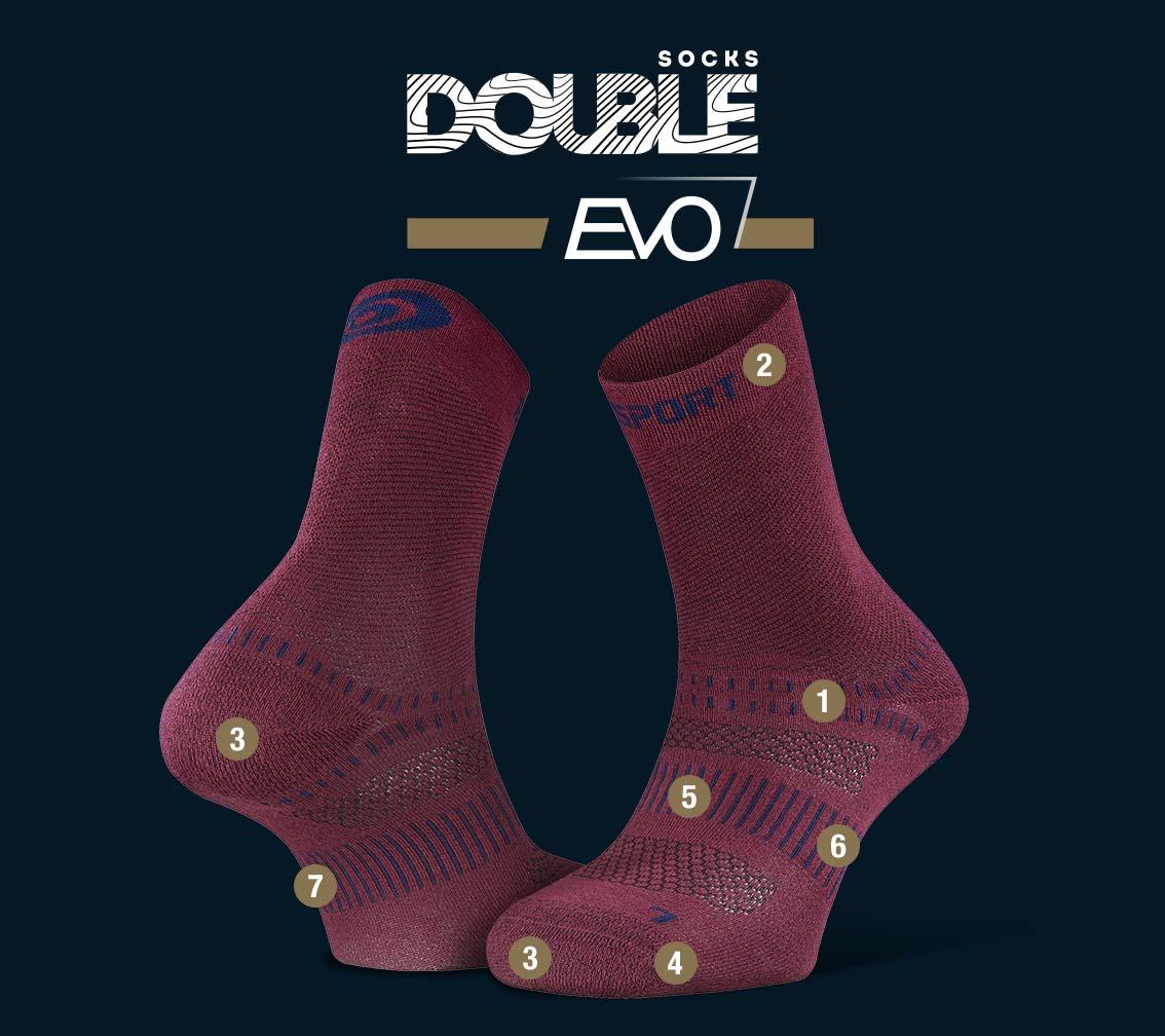 Chaussettes randonnée Double EVO bordeaux