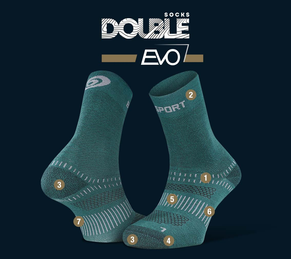 Hiking socks DOUBLE EVO green
