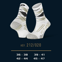 Chaussettes_running_RSX_EVO_burlington_blanc-gris - Collector Edition