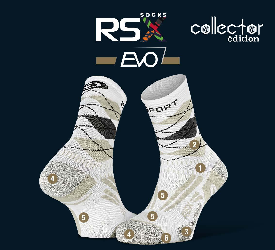 RSX_EVO_running_socks_burlington_white-grey - Collector Edition