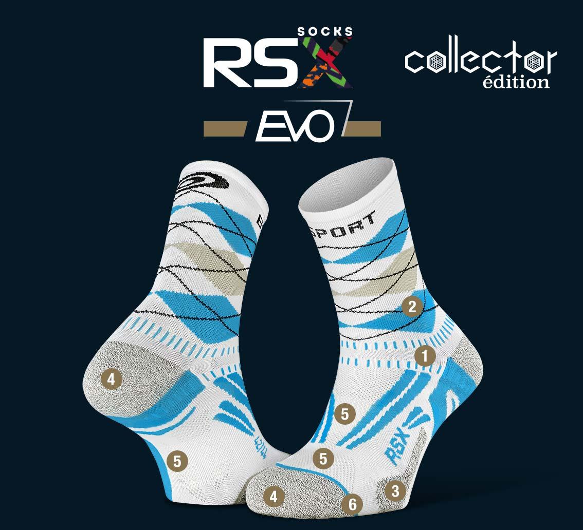 Calze_RSX_EVO_running_burlington_bianco-blu - Collector Edition