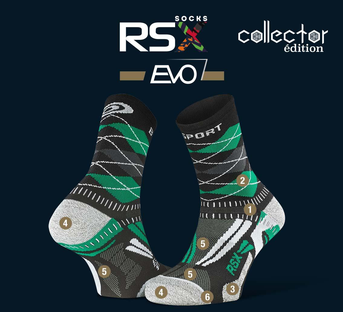 Chaussettes_RSX EVO_running_burlington_noir-vert - Collector Edition