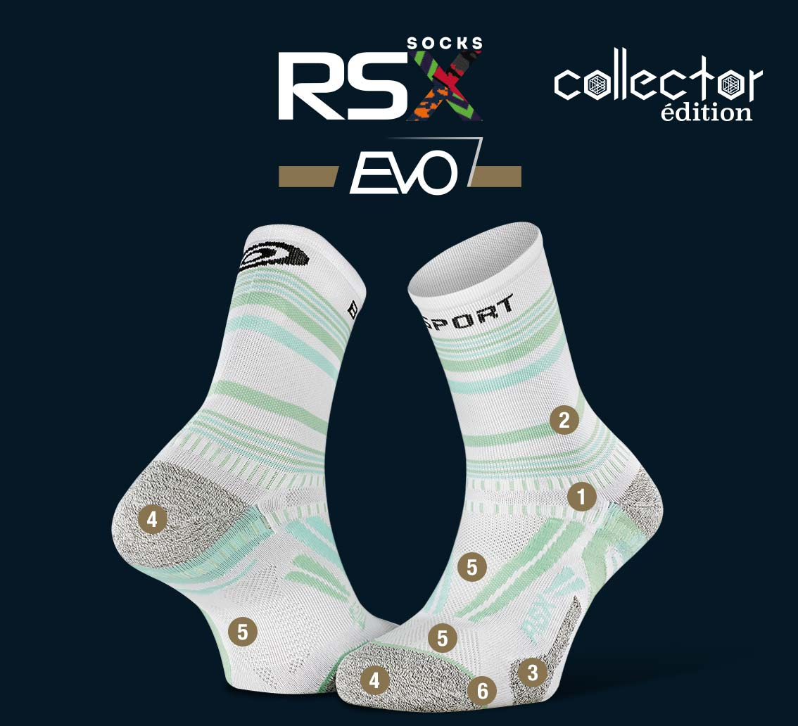 RSX_EVO_running_socks_tennis_white-green - Collector Edition