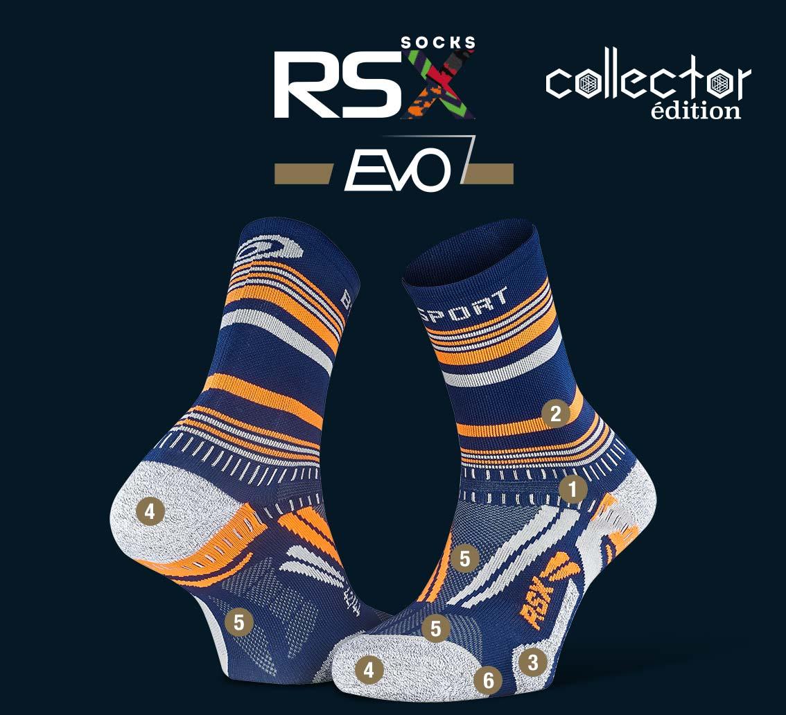 Calze_RSX_EVO_running_tennis_blu-arancione - Collector Edition