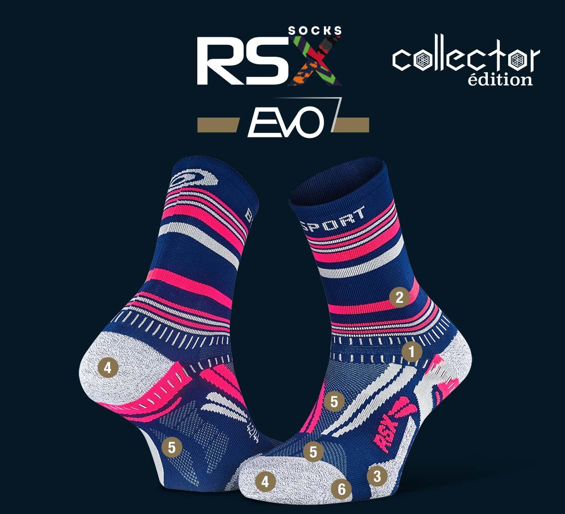 RSX_EVO_running_socks_tennis_blue-pink - Collector Edition