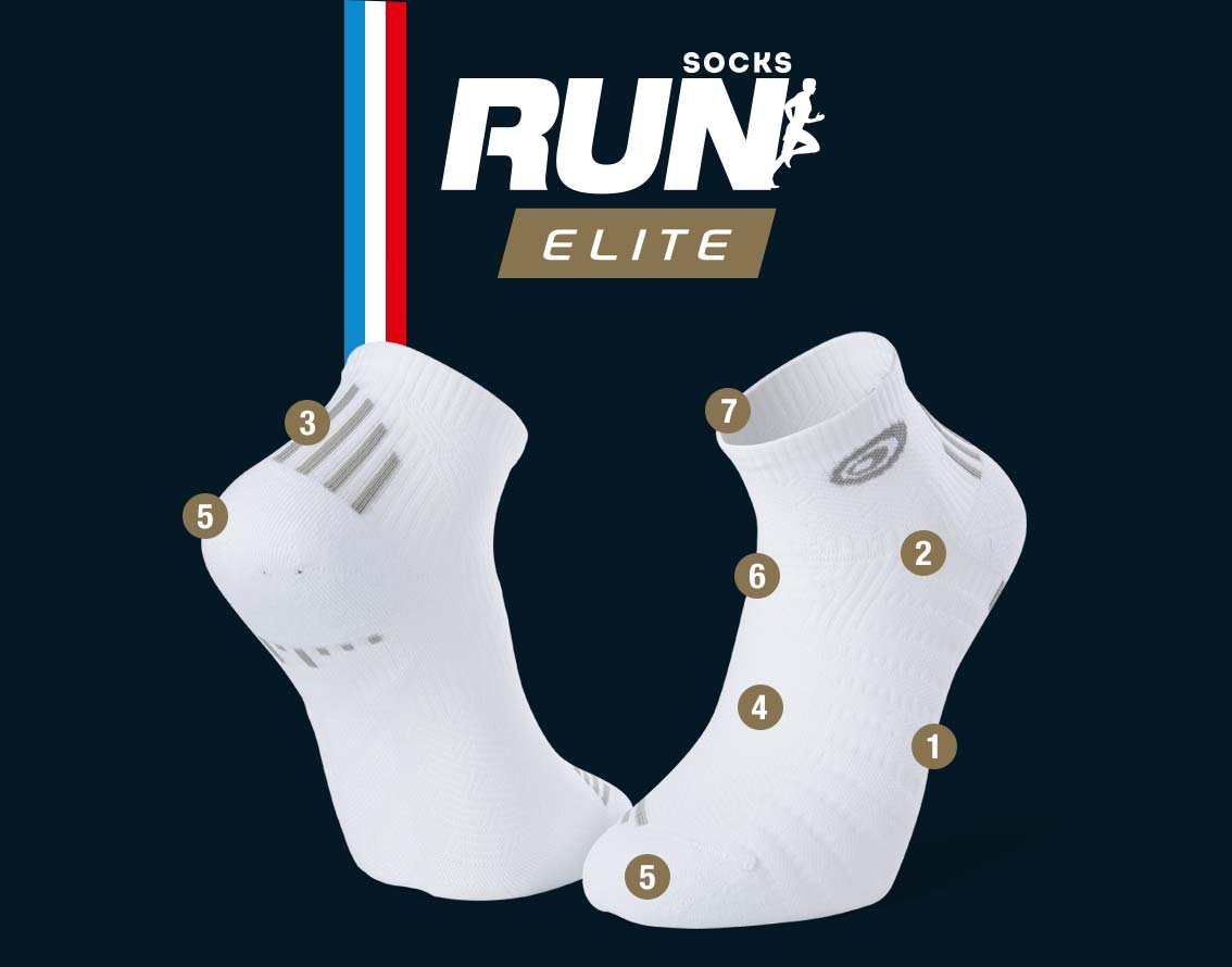 Socquettes running blanc-gris RUN ELITE | Made in France
