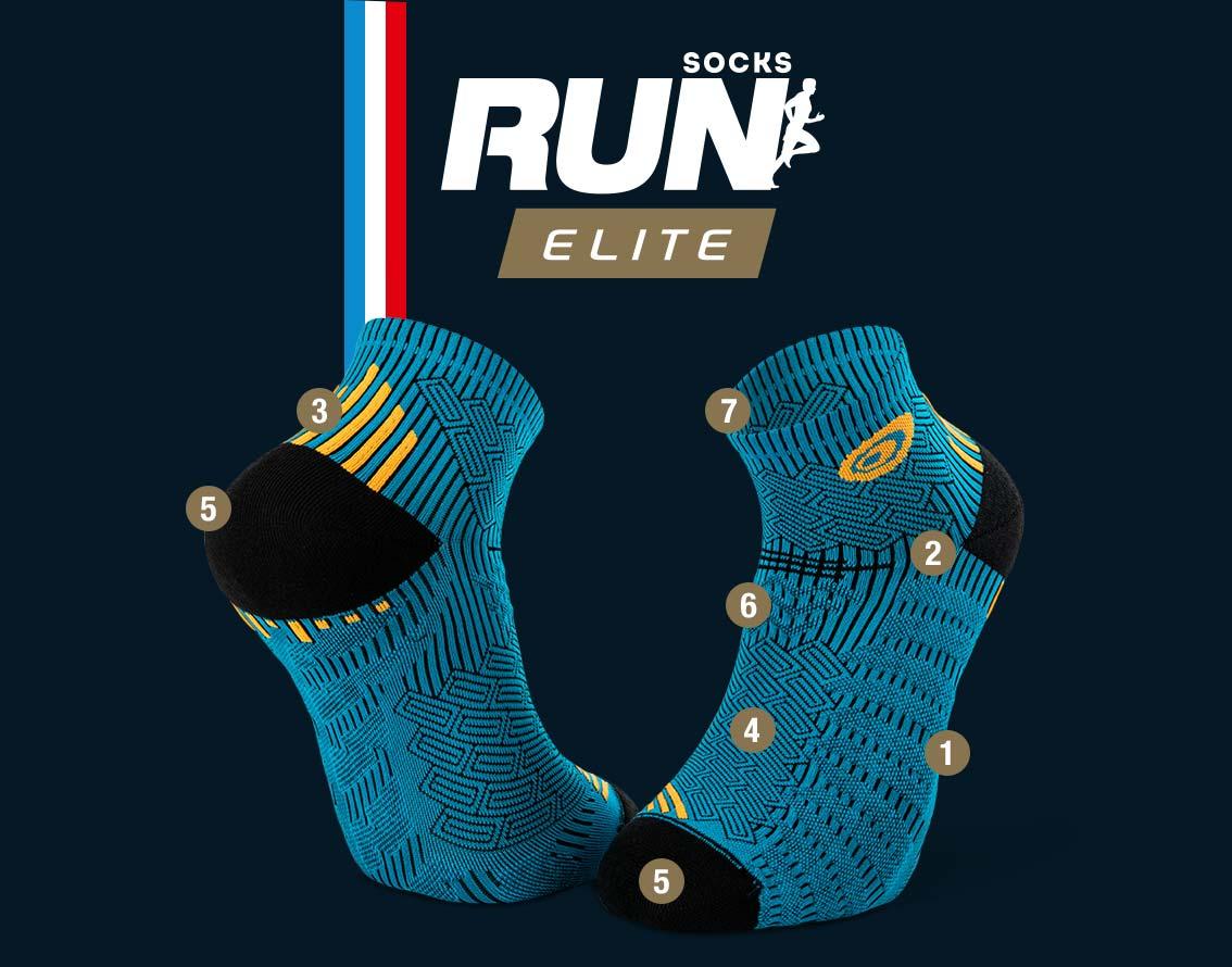 Socquettes running bleu-orange RUN ELITE | Made in France