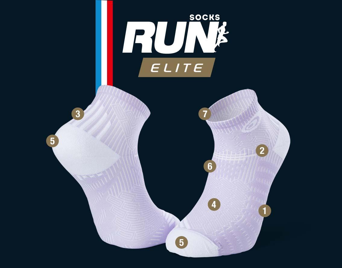 Socquettes running mauve-blanc RUN ELITE | Made in France