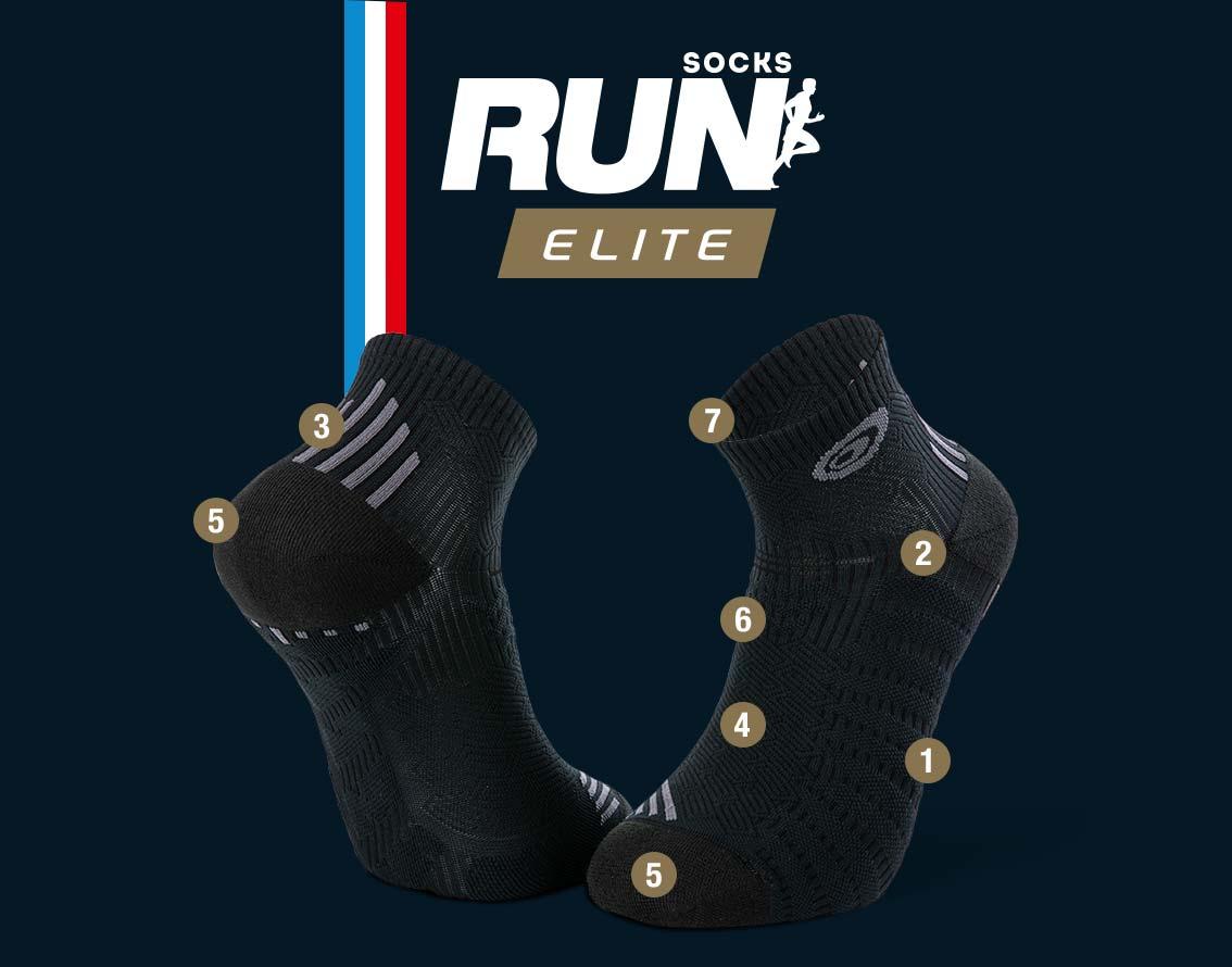 Calze corte running nero-grigio RUN ELITE | Made in France