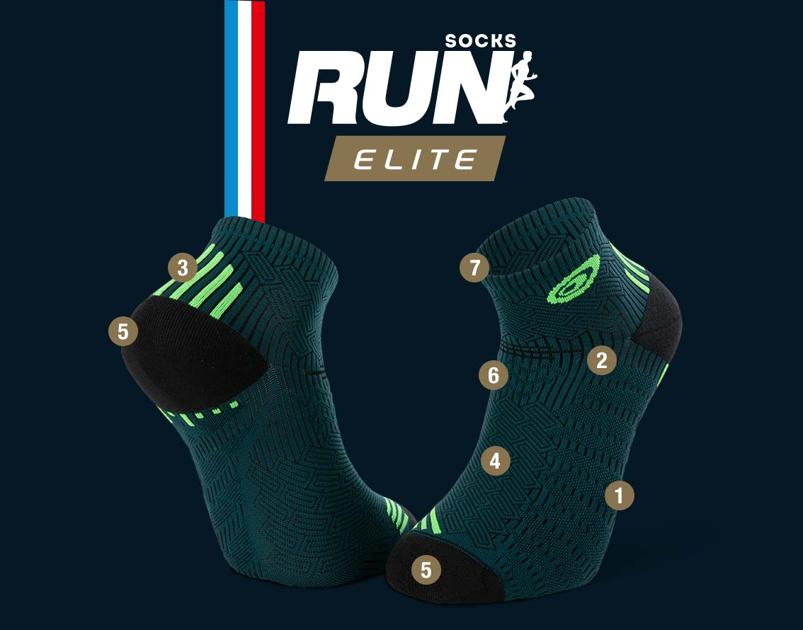 Green-black running ankle socks RUN ELITE   Made in France