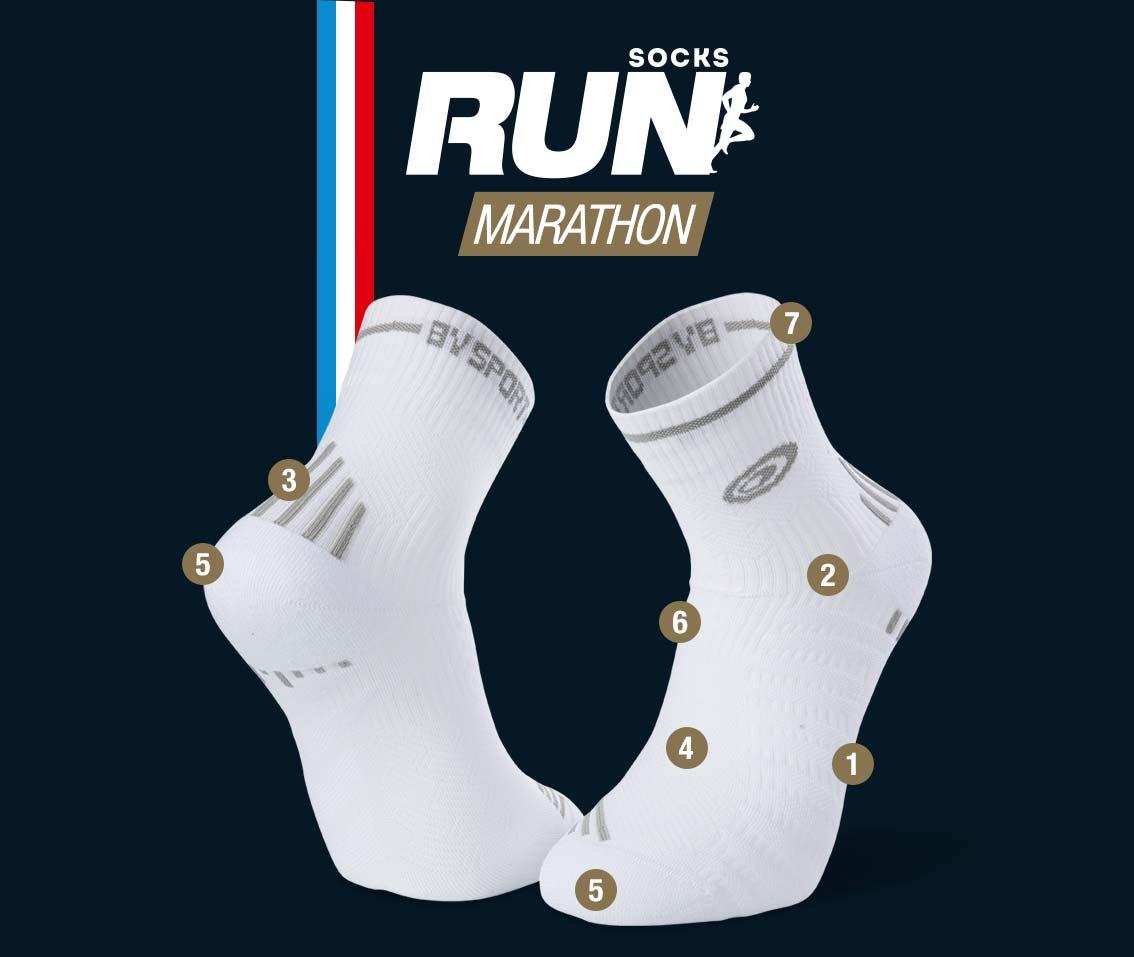 White-grey running socks RUN MARATHON | Made in France