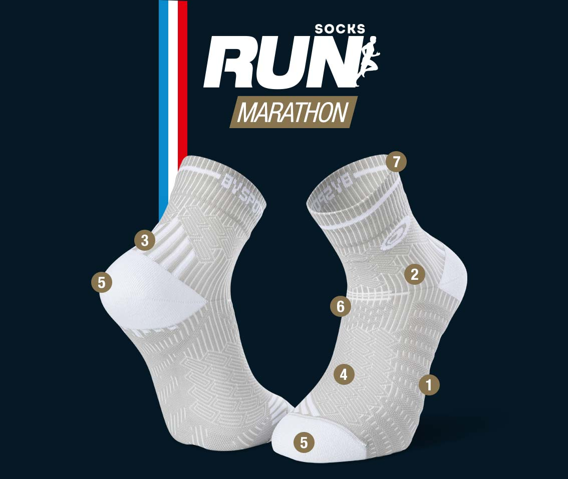 Chaussettes running gris-blanc RUN MARATHON | Made in France