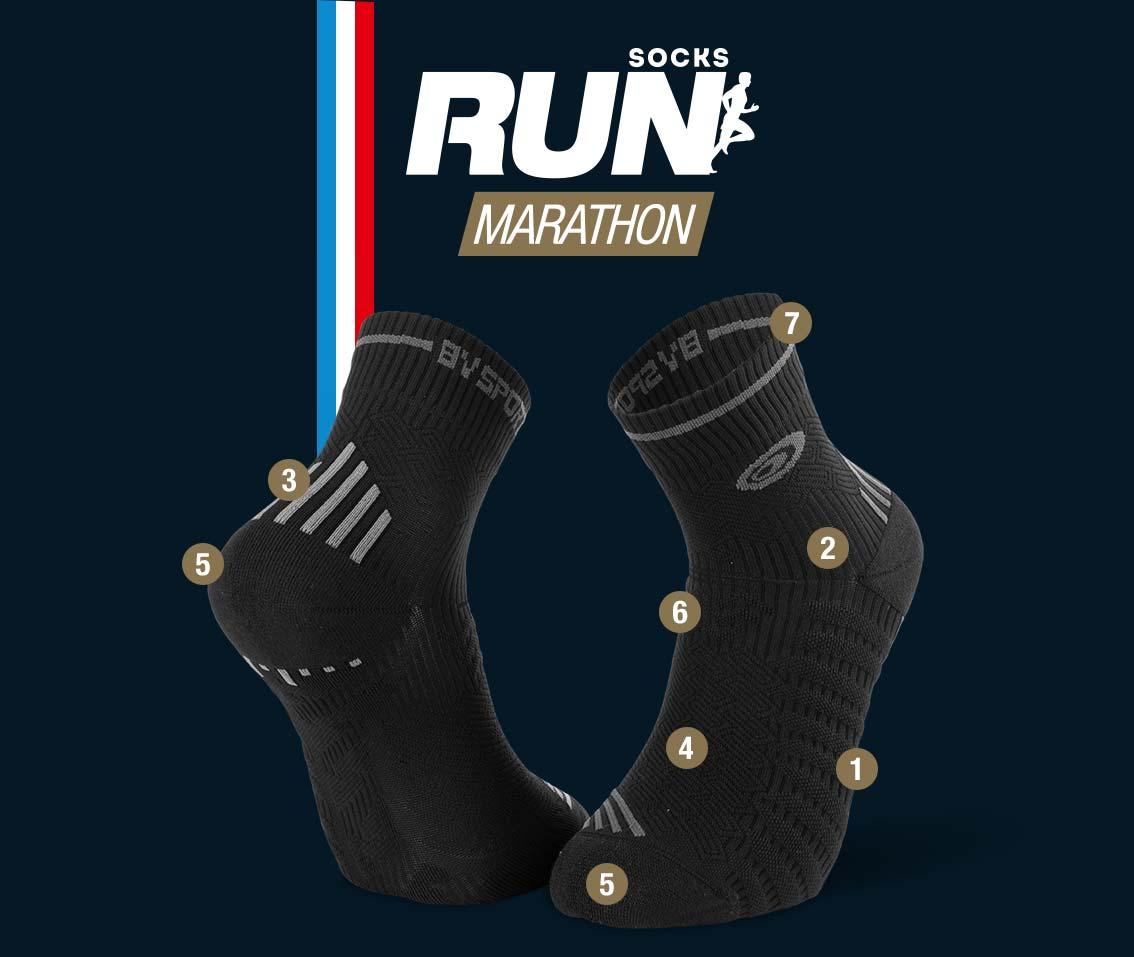 Chaussettes running noir-gris RUN MARATHON | Made in France