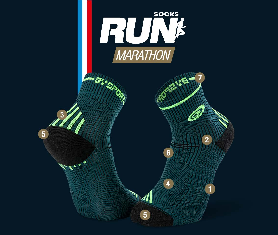 Calze running verde-nero RUN MARATHON | Made in France