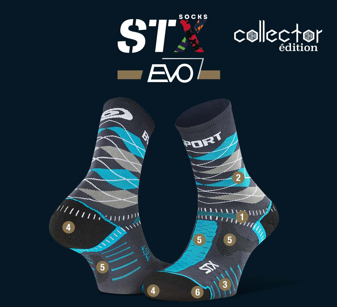 STX EVO_trail_socks_burlington_grey-blue - Collector Edition
