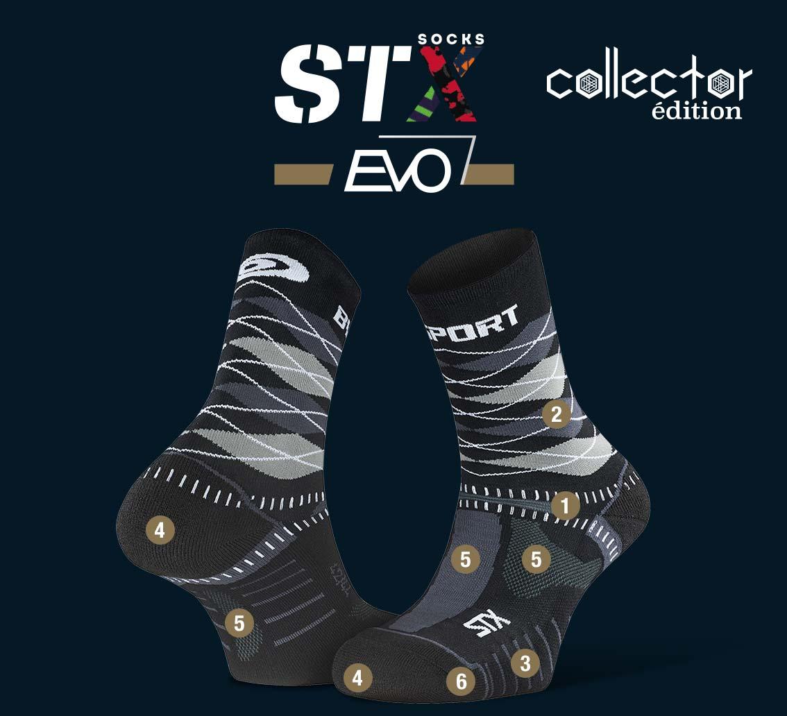 STX EVO_trail_socks_burlington_black-grey - Collector Edition