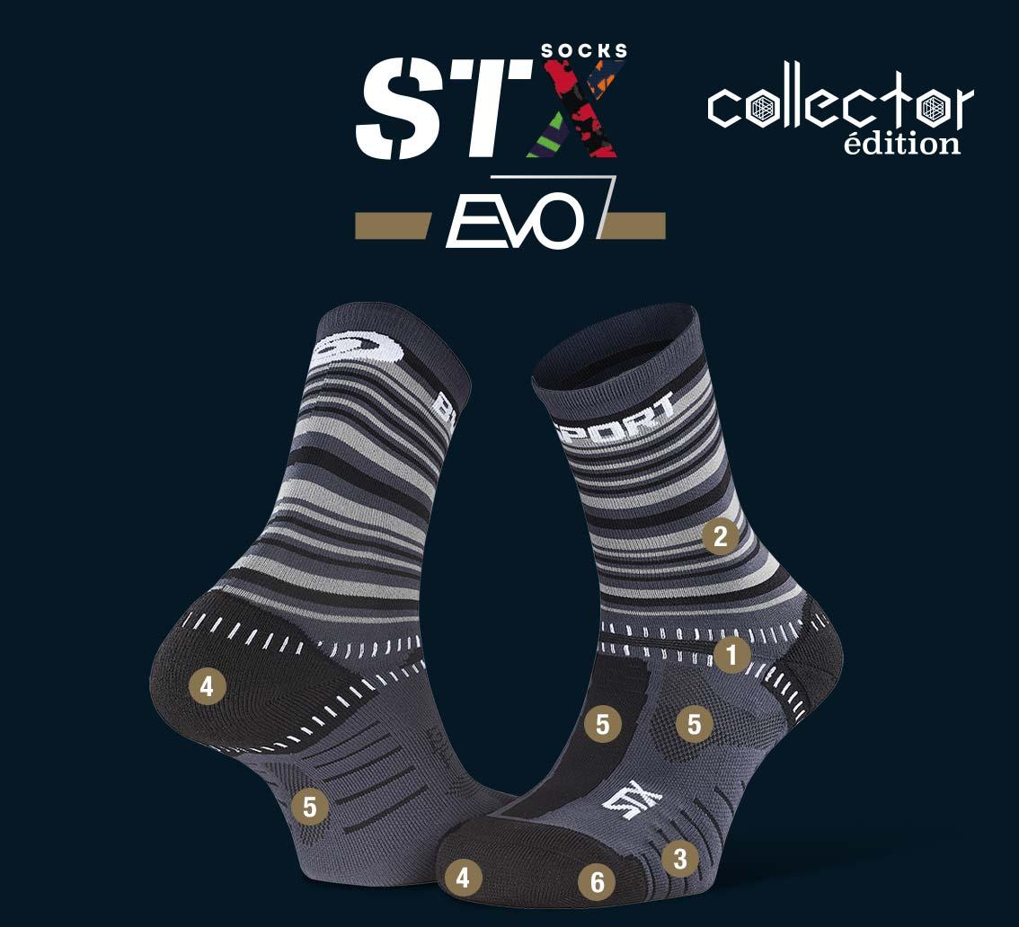 STX EVO_trail_socks_tennis_grey-black - Collector Edition