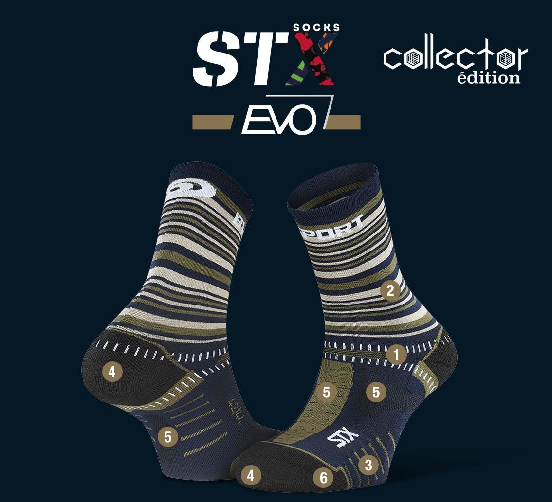 STX EVO_trail_socks_tennis_blue-green - Collector Edition