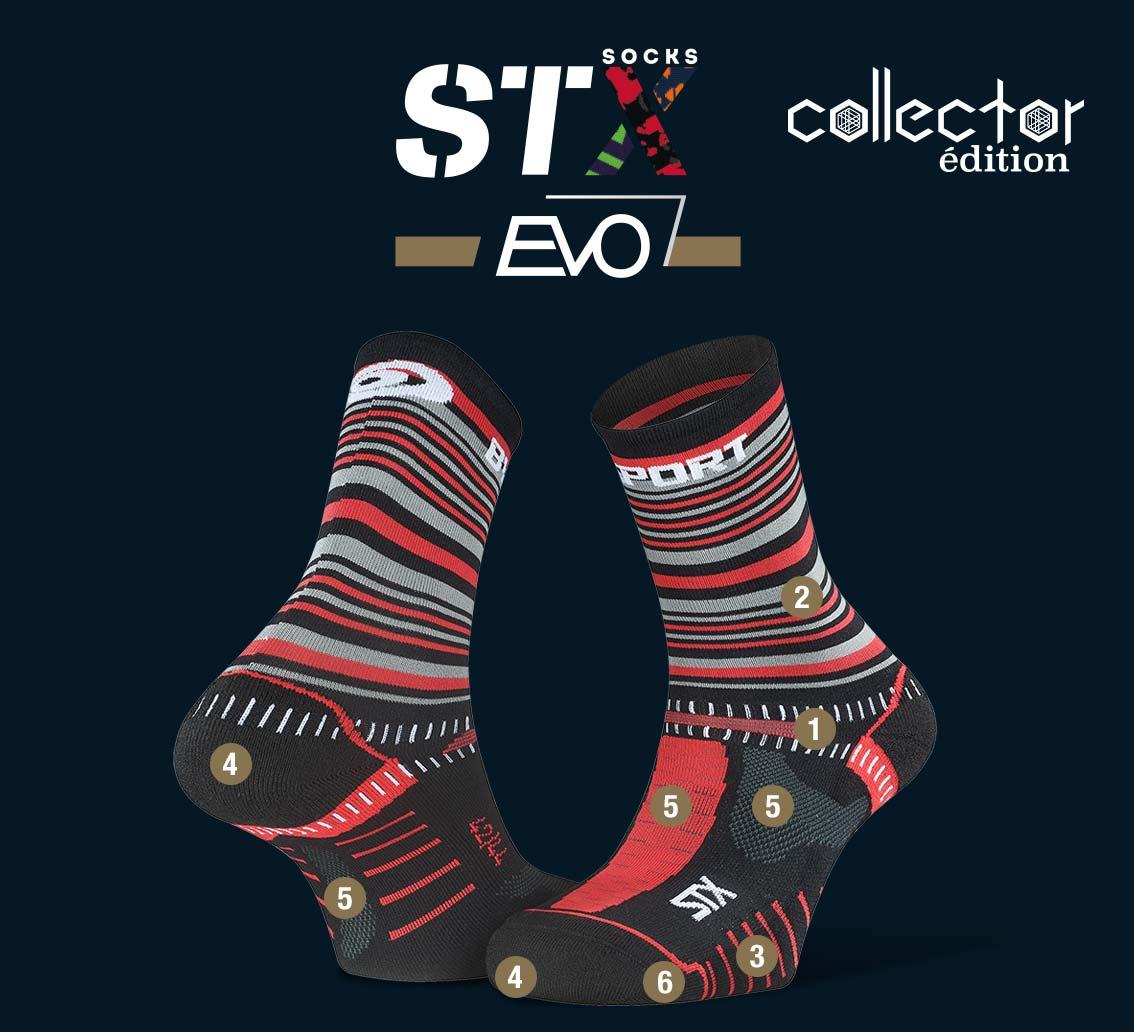 Chaussettes_STX EVO_trail_tennis_noir-rouge - Collector Edition