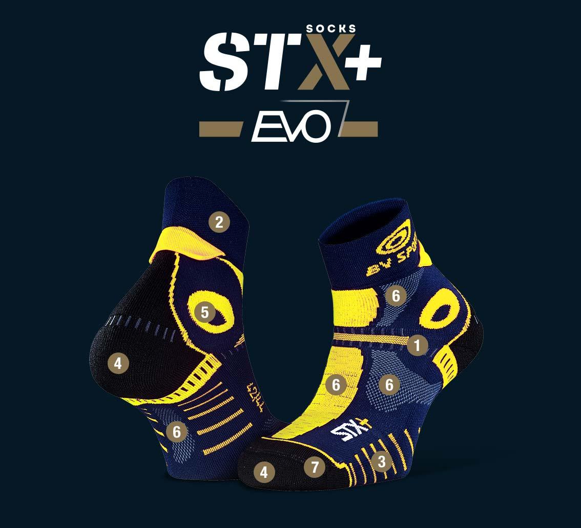 Socquettes STX+ EVO bleu-jaune