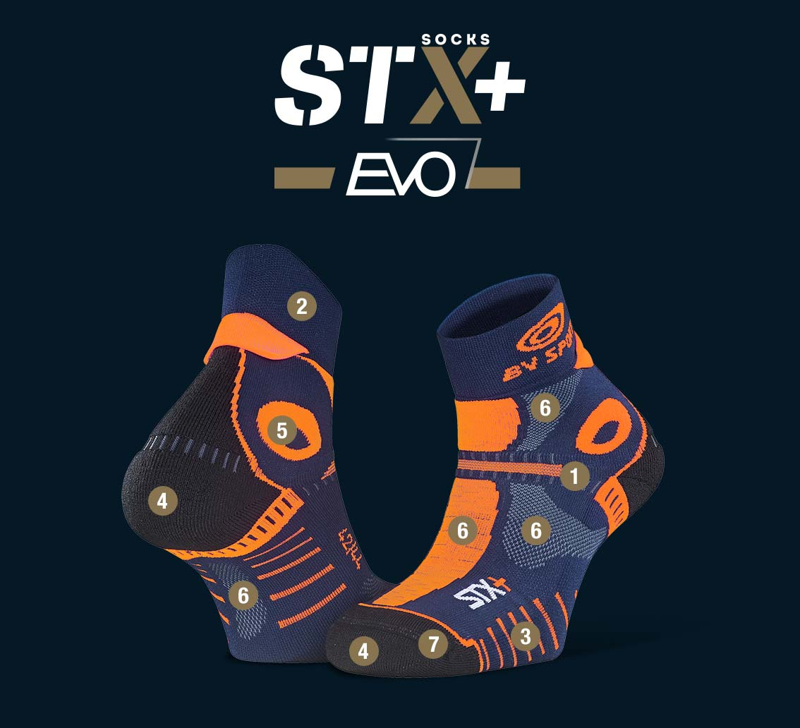 Socquettes STX+ EVO bleu-orange