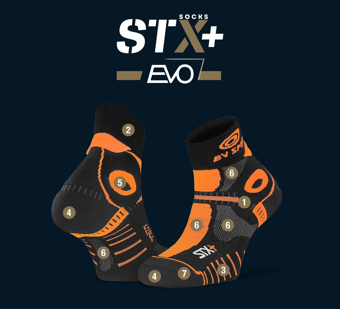 Calze corte STX+ EVO nero-arancione