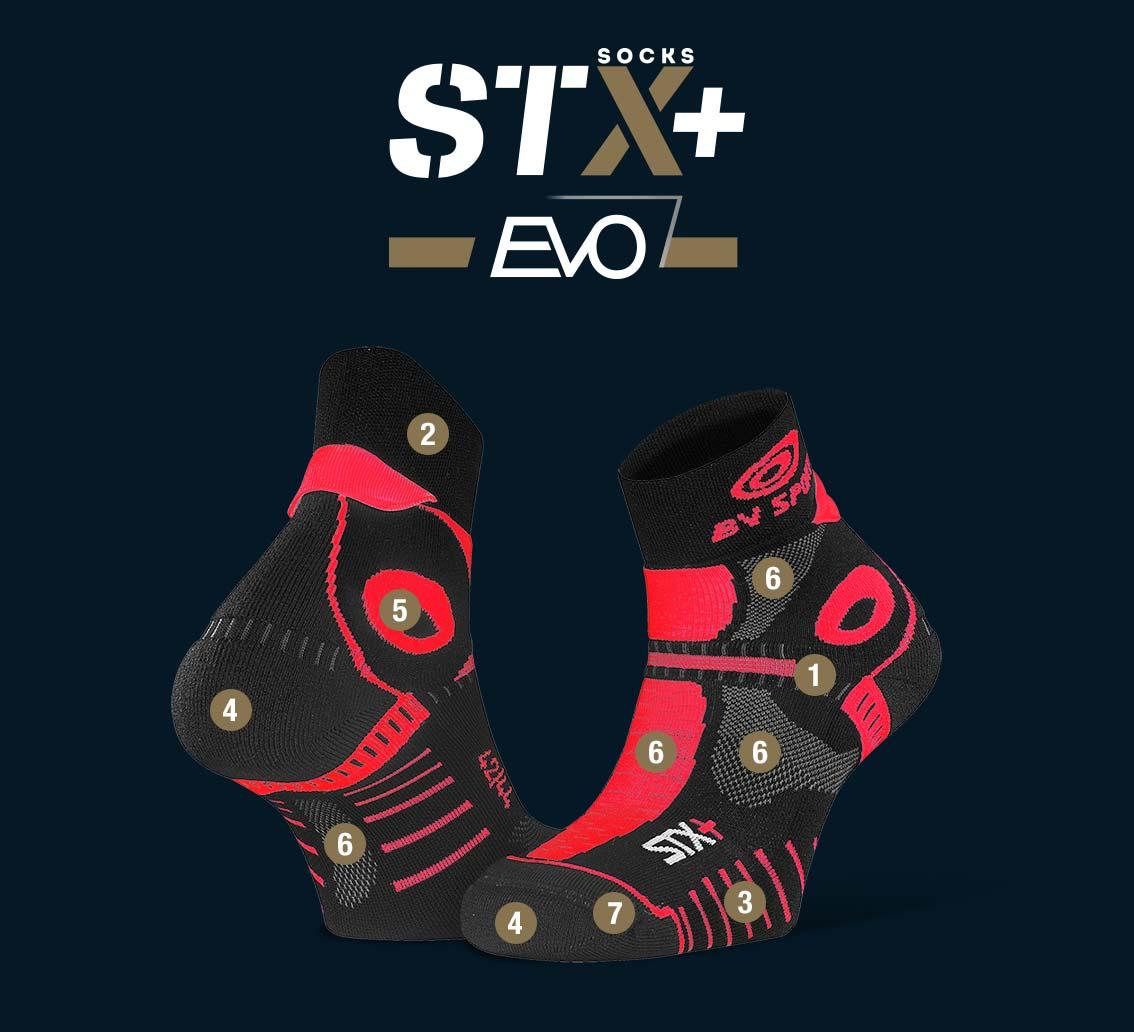 Socquettes STX+ EVO noir-rouge