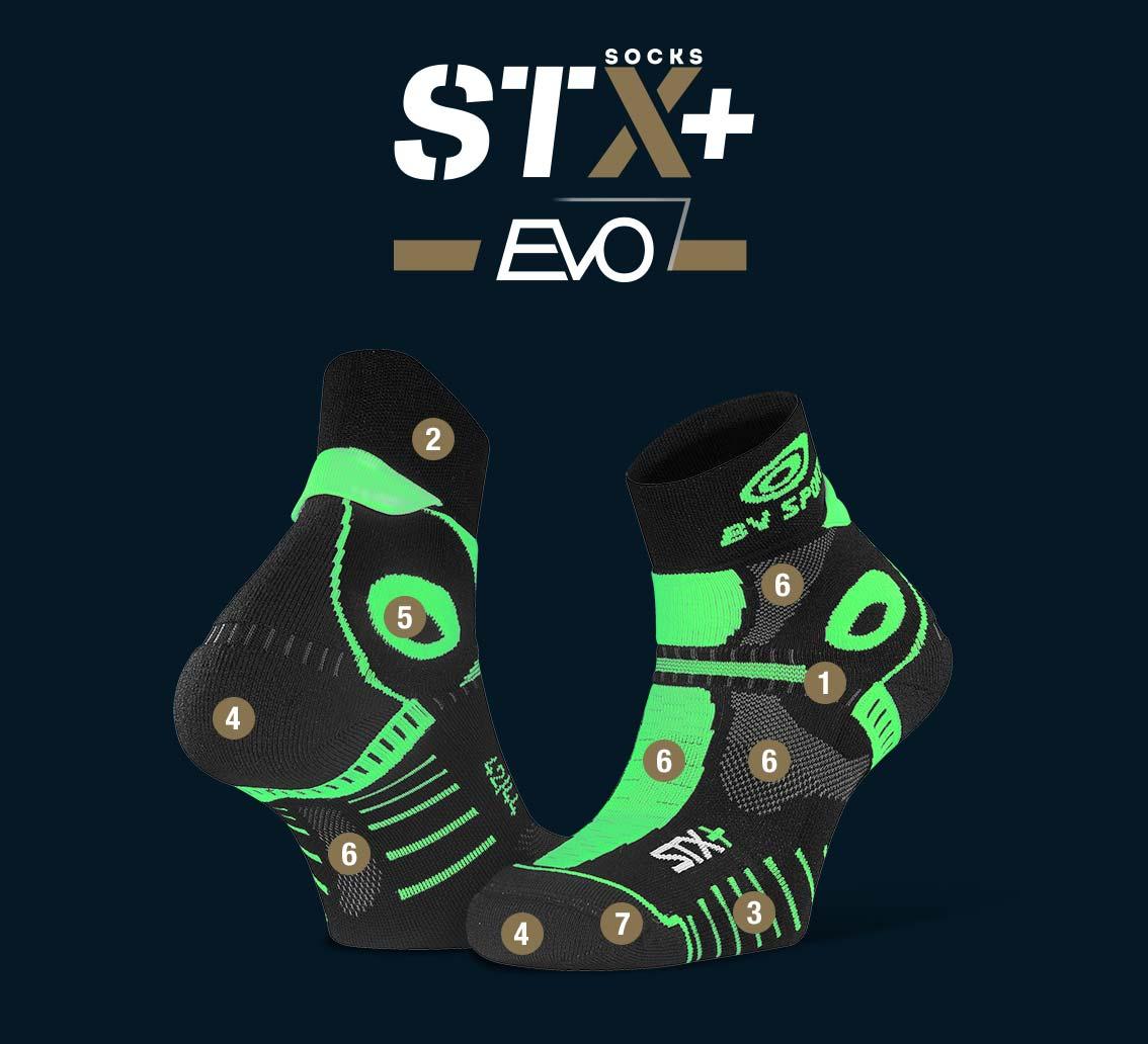 Calze corte STX+ EVO nero-verde