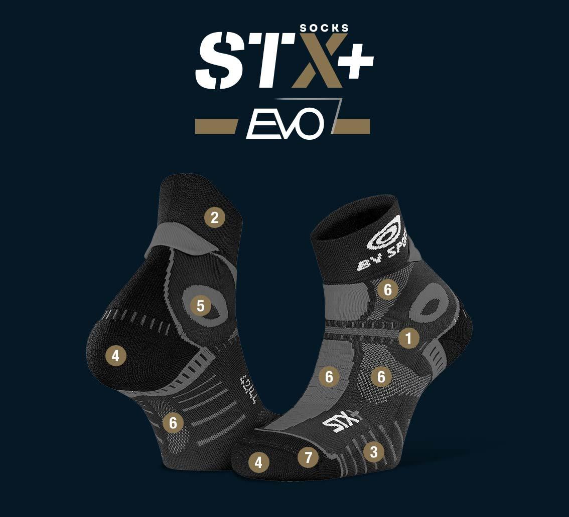 Socquettes STX+ EVO noir-gris