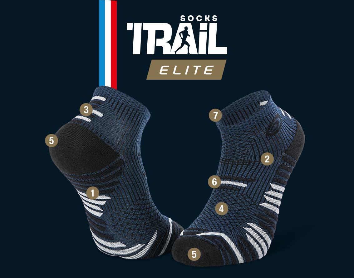 Socquettes bleu-noir TRAIL ELITE   Made in France