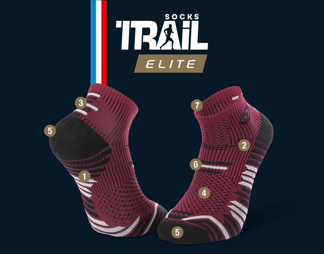 Socquettes bordeaux-noir TRAIL ELITE | Made in France