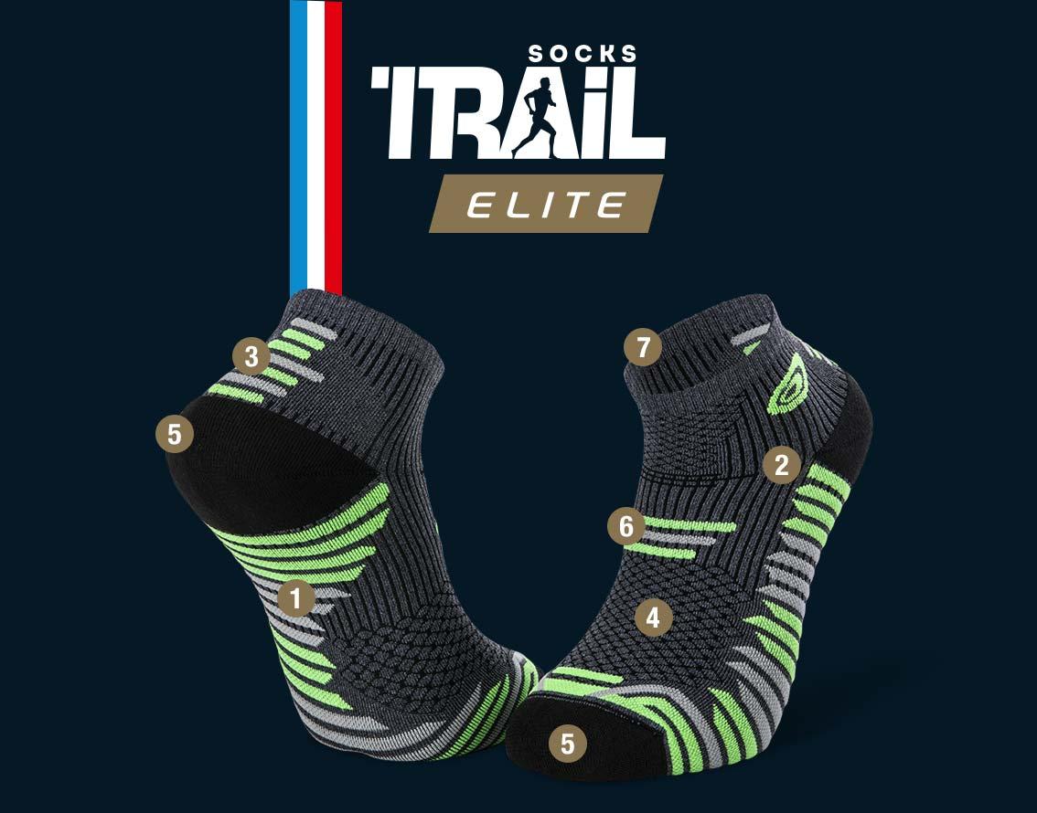Socquettes gris-vert TRAIL ELITE | Made in France