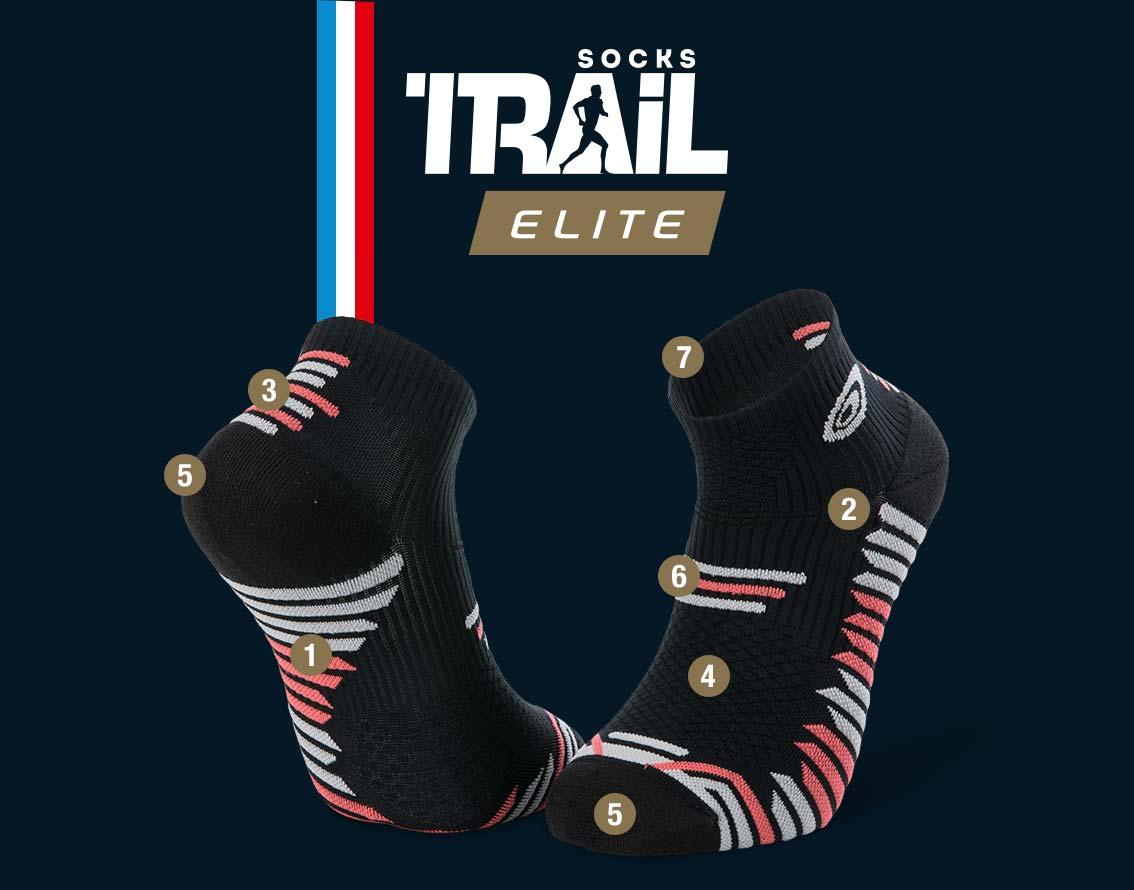 Black-coral trail ankle socks TRAIL ELITE | Made in France