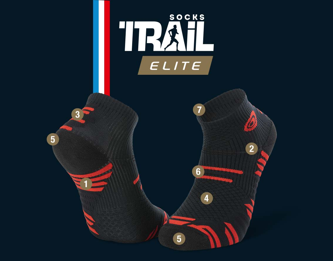 Socquettes noir-rouge TRAIL ELITE | Made in France